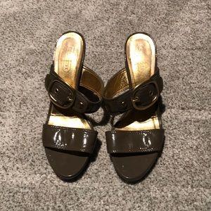 Gray coach sandals